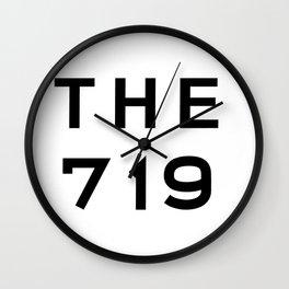 719 Colorado Area Code Typography Wall Clock