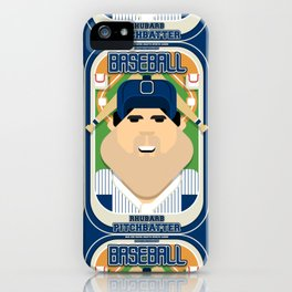 Baseball Blue Pinstripes - Rhubarb Pitchbatter - Victor version iPhone Case