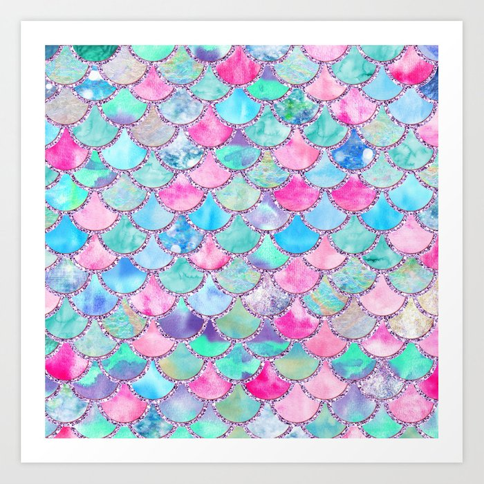 Colorful Pink and Blue Watercolor Trendy Glitter Mermaid Scales  Kunstdrucke