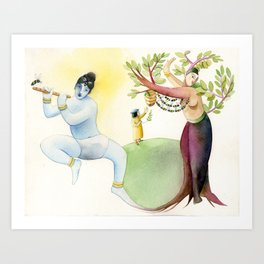 Krishna & the tulasi plant Art Print