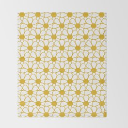 Polka Dot Daisies - Cheerful Retro Geometric Floral Pattern in Mustard and White Throw Blanket