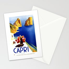 1952 Capri Italy Travel Poster Stationery Cards