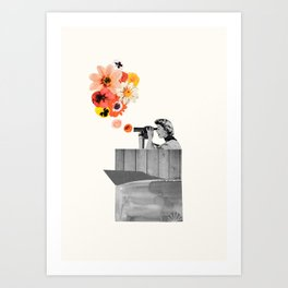 in bloom (black & white) Art Print