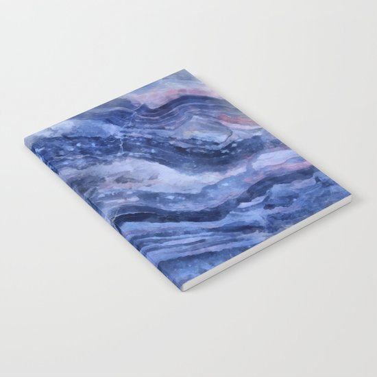 Blue watercolor marble Notebook