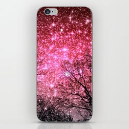 Black Trees Pink Sparkle Space iPhone Skin