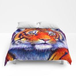 Colorful Bengal Tiger Portrait Comforters