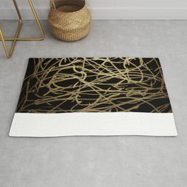 Painted Faux Gold Scribbles Pattern Rug