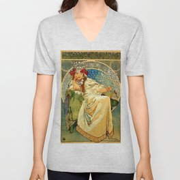 "Alphonse Mucha  ""Princess Hyacinth"" Unisex V-Neck"