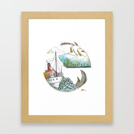 Steam Boat Framed Art Print