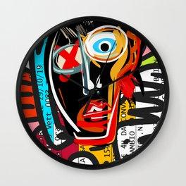 Graffiti Street Art Spirit Head on Italian Train Ticket Scanned  Wall Clock