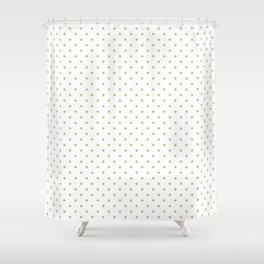 Christmas Gold Polka Dots on White Shower Curtain