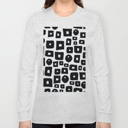 Geometrical hand painted black white squares circles Long Sleeve T-shirt