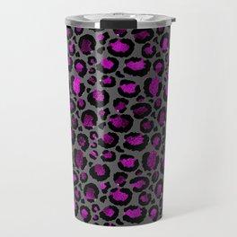 Black & Metallic Purple Leopard Print Travel Mug