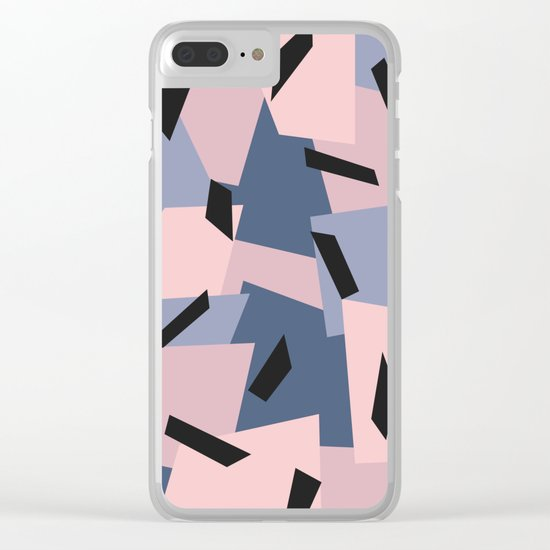 Patches Abstract Pattern Black, Blue, Pink, Gray Clear iPhone Case