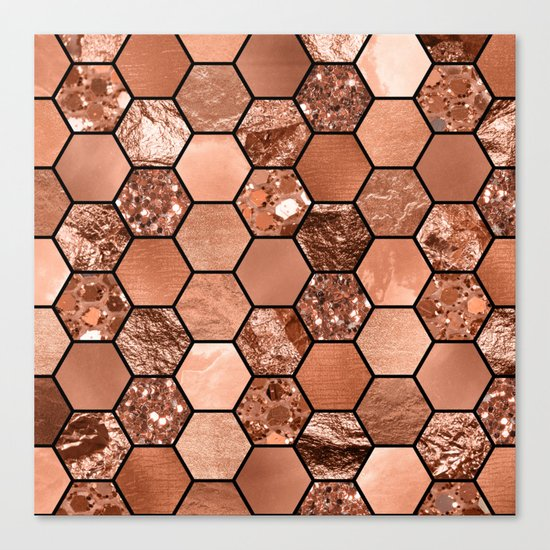 Rose gold hexaglam Canvas Print