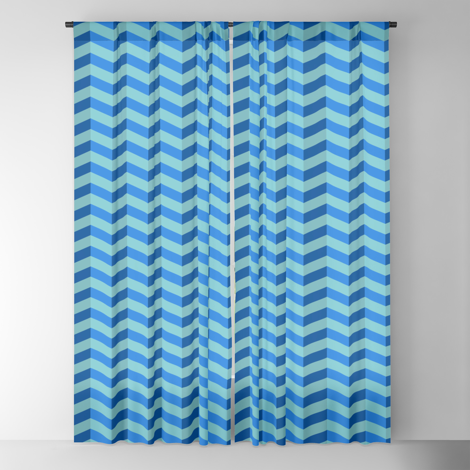 Shades Of Blue Chevron Blackout Curtain By Momsboxershorts Society6
