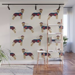 Airedale Terrier scottish kilt bagpipes funny custom dog portrait dog breeds by pet friendly Wall Mural