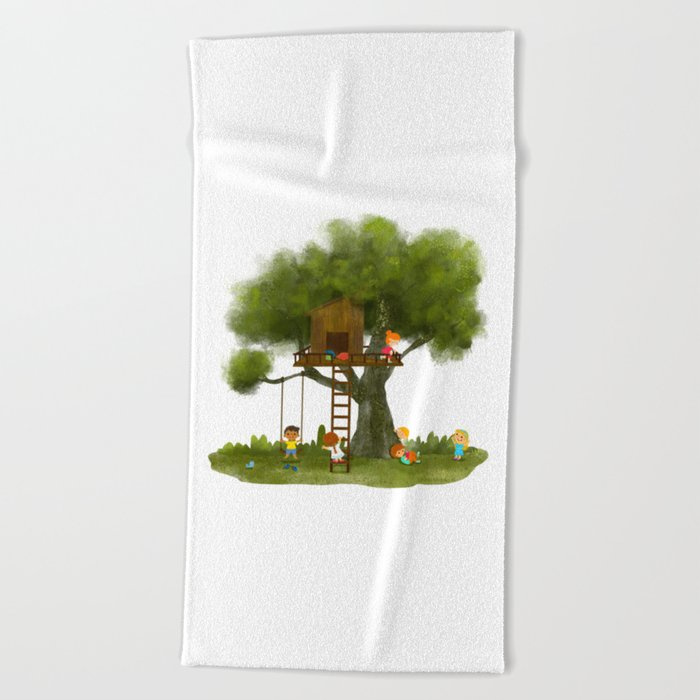 Tree Kids House Beach Towel