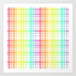 Light Rainbow Plaid Art Print