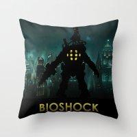bioshock Throw Pillows featuring Bioshock by Pixel Design