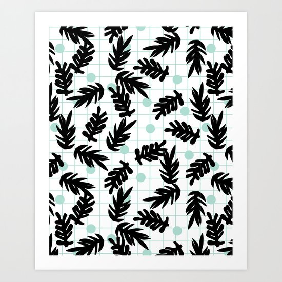 Dotty - black and mint modern pattern grid modern pattern print design urban brooklyn  Art Print