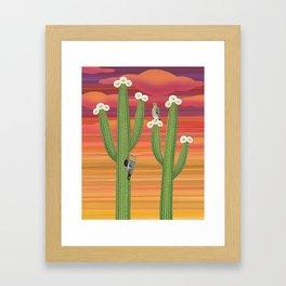 gila woodpeckers on saguaro cactus Framed Art Print