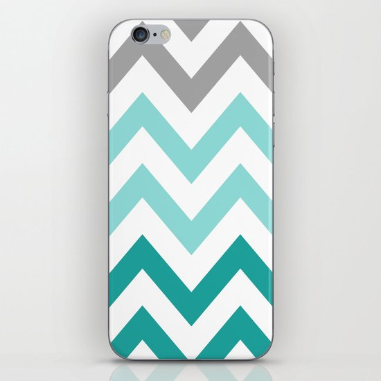 TEAL FADE CHEVRON iPhone & iPod Skin