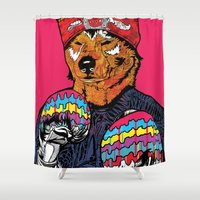 shiba Shower Curtains featuring Shiba - The Hustler  by Vasco Vicente