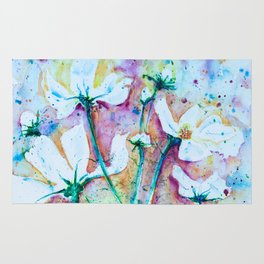 Cool Blue Vibrant Cosmos watercolor by CheyAnne Sexton Rug