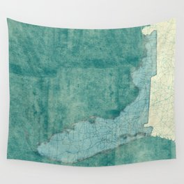 Florida State Map Blue Vintage Wall Tapestry