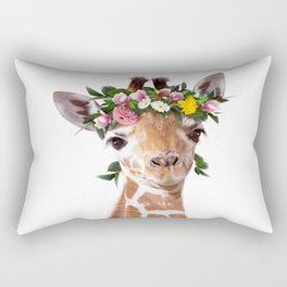 Baby Giraffe With Flower Crown, Baby Animals Art Print By Synplus Rectangular Pillow