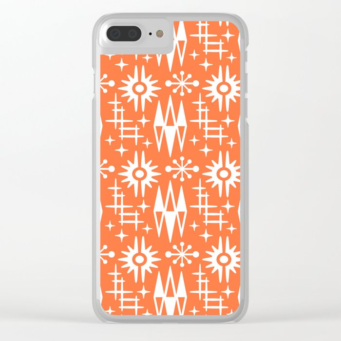 Mid Century Modern Atomic Space Age Pattern Orange Clear iPhone Case