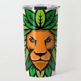Lion With Leaves As Mane Mascot Travel Mug