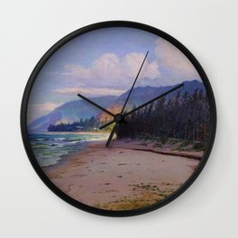 Rays of Sun on the Windward side of Oahu, Hawaiian landscape painting by D. Howard Hitchcock Wall Clock