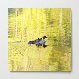 Bird's Family Happiness - Lake Reflection - Summer Scene #decor #society6 #buyart Metal Print