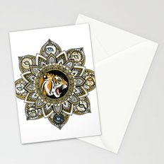 Black and Gold Roaring Tiger Mandala With 8 Cat Eyes Stationery Cards