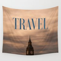 travel poster Wall Tapestries featuring Travel by Efty