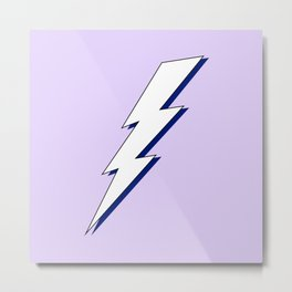 Just Me and My Shadow Lightning Bolt - Purple White Blue Metal Print