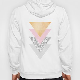 Geometric Triangles - Gold Pink and Marble Hoody