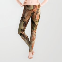 Peachy Floral Abstract Leggings