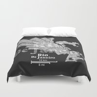 rio de janeiro Duvet Covers featuring Rio De Janeiro Map by Shirt Urbanization