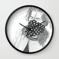 shaun of the dead Wall Clocks featuring Shaun White by Moira Sweeney