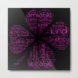 Sydney name gift with lucky charm cloverleaf word Metal Print
