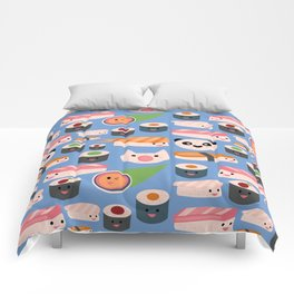 Kawaii sushi blue Comforters