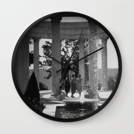 Isadora Duncan Dance Troup posing in gazebo by water fountain floral black and white photography Wall Clock