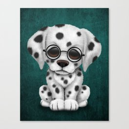 Dalmatian Puppy Wearing Reading Glasses on Blue Canvas Print