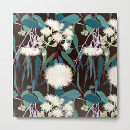 Australian Gumnut Eucalyptus Floral in White + Expresso Metal Print