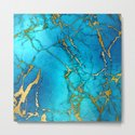 Gold And Teal Blue Indigo Malachite Marble by originalaufnahme