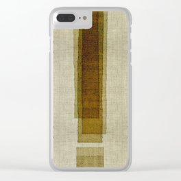 """Burlap Texture Greenery Columns"" Clear iPhone Case"