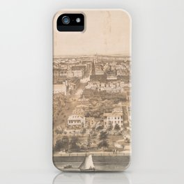 Vintage Pictorial Map of Charleston SC (1851) iPhone Case